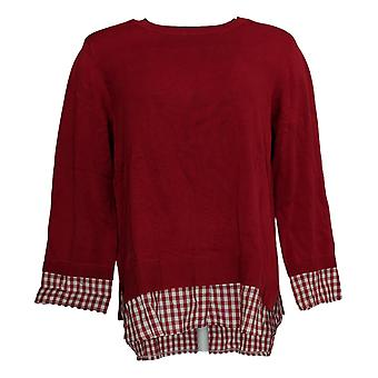 Joan Rivers Classics Collectie Dames's Sweater 3/4-Sleeve Red A349338
