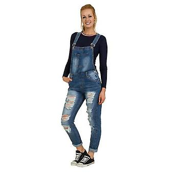 Womens loose fit dungarees - distressed denim