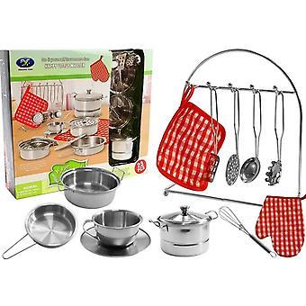 Ensemble de casseroles de cuisine pour enfants - casseroles en acier inoxydable et ustensiles de cuisine - 23 pièces
