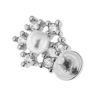 CZ ندفة الثلج الحجرية مع بيرل 16 قياس الجراحية الصلب الحلزون Tragus الأذن ثقب المجوهرات