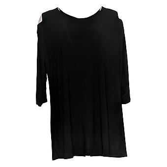 Women with Control Women's Plus Top Cold Shoulder Tunic Black A301313