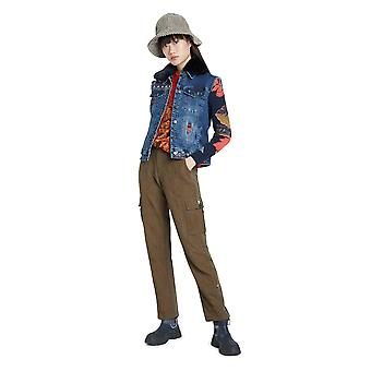 Desigual Exotic Keeler Denim Trucker Jacket with Knit Arms 20WWED17