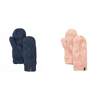 Timberland Womens/Ladies Leather Loop Cable Knit Mittens