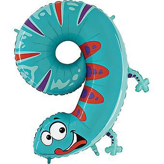 Oaktree 40 Inch Number Nine Gecko Zooloon Birthday Balloon