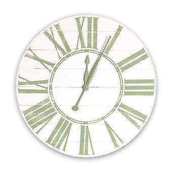 Horloge surdimensionnée antique de mur de ferme blanche et de sage