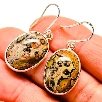 "Poppy Jasper Earrings 1 3/8"" (925 Sterling Silver)  - Handmade Boho Vintage Jewelry EARR409106"