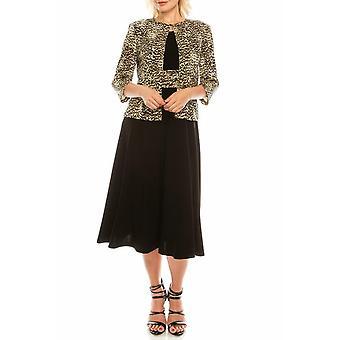 Tan Leopard gedruckt Jacke Kleid