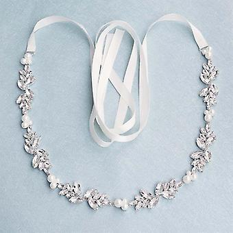 Muoti kukat Itävallan kristalli helmet häävyöt & nauhat mekko (hopea)