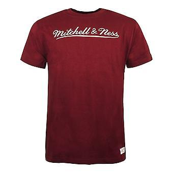 Mitchell & Ness Script Logo Trad Tee Branded T-Shirt Burgundy BRASCRIPTLOGO