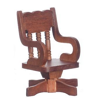 Panenky Dům Miniaturní Kancelářské studie Nábytek Ořech Dřevěné otočné stolní židle
