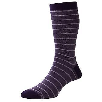 Pantherella Barrington Jacquard Birdseye Stripe Fil D'Ecosse Socks - Blackberry Purple