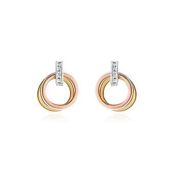 Joma joyería Florence Loop Pendientes plata oro rosa y pendientes de oro 4447