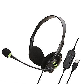 Usb Headset With Microphone For Pc Multi-key Control 3.5mm Call Center Wired