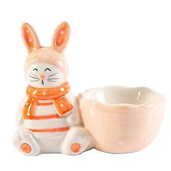 Easter Bunny Egg Cup Hand Painted Buffet Party Serveware Tableware 9cm Pink