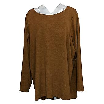 G By Giuliana Women's Long-Sleeve Pleat Back Top Brown 727166