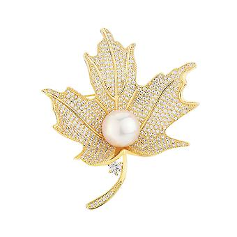 Corsage Maple Leaf Girl Brooch Zircon Pearl Brooch Pin Golden