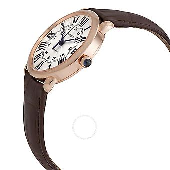 Cartier Ronde 18kt Rose Gold Automatic Silver Dial Brown Leather Men's Watch WGRN0006