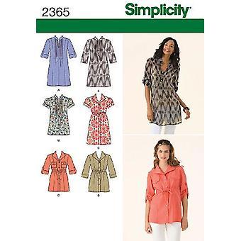 Yksinkertaisuus Ompelu kuvio 2365 Naiset Misses Tunic Top Size 6-8-10-12-14 H5