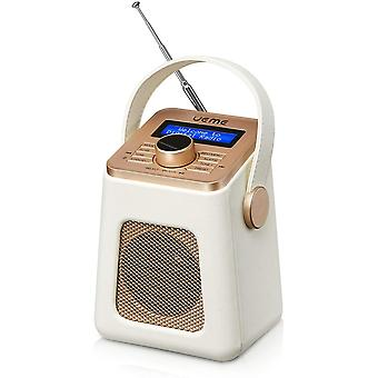HanFei Mini DAB+ DAB Digitalradio und UKW Radio mit Bluetooth Lautsprecher, Radiowecker und Leder
