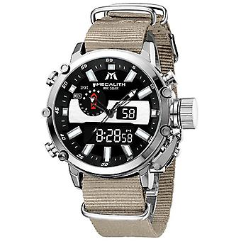 Relógio de tela dupla multifuncional de quartzo analógico masculino