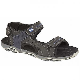 PDQ Peak Mens Faux Leather Hiking Sandals Black/navy