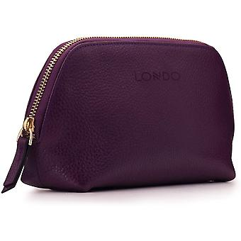 Gerui Genuine Leather Makeup Bag Cosmetic Pouch Travel Organizer Toiletry Clutch (Purple)