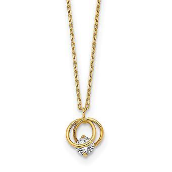 14k sárga arany polírozott CZ Cubic Cirkónia szimulált gyémánt dupla kör 1in Ext nyaklánc 15 Inch