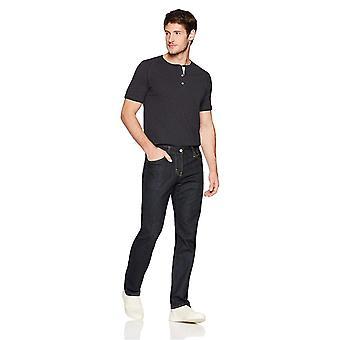 Goodthreads Men's Short-Sleeve Lightweight Slub Henley, Caviar/Black, XX-Large