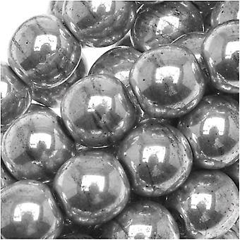 """זכוכית צ'כית דרוק חרוזים עגולים 6 מ""""מ כסף מתכתי (50)"""