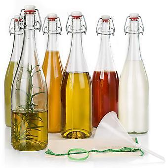 HanFei Einmachflaschen mit Bügelverschluss - Set zur Fermentation, 6 750-ml-Bügelflaschen, 10 cm