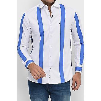 Slim-fit white striped cotton satin shirt