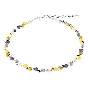 """elicated necklace """"Johanna"""", mix of Polaris pearls and glass in yellow and gray tonalit, handmade by Adi jewelry at Ref. 425118862952"""