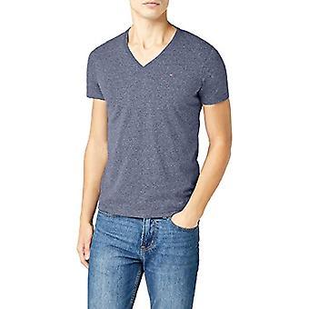 トミー ヒルフィガー オリジナル メランジュ VN ニット S/s Tシャツ ブルー (ブラック アイリス PT 002), スモール マン