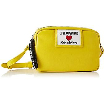 Love Moschino Pre-collection SS21 Camera Bag in Glossy Canvas for Women, Shoulder Bag, Yellow, Normal