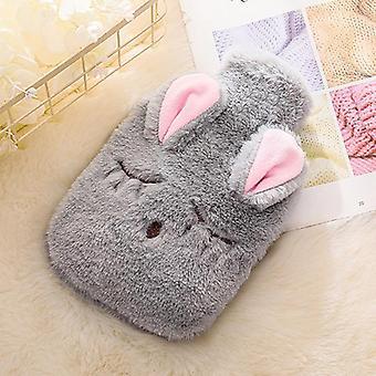 Vinter varmvattenflaska, tecknad kanin PVC väska med stickat mjukt mysigt lock,