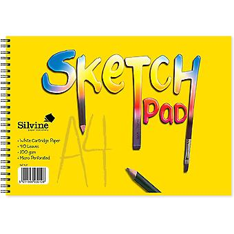 Silvine #407 Yellow Cover Sketch Pad Spiral A4