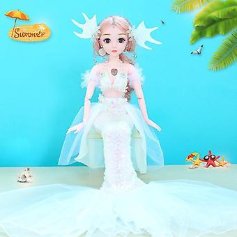 Enkel 60cm sjöjungfru barbie docka gemensamma rörlig musik intelligens för flickor gåva