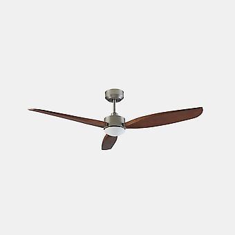 LEDS C4 Embat 3 Blade 133cm plafondventilator met LED Licht Satijn Nikkel, Bruin