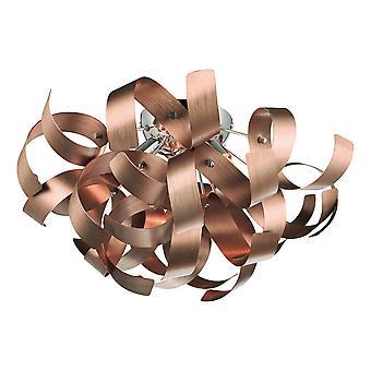DAR RAWLEY Ribbon Flush Deckenleuchte Gebürstetes Kupfer, 4x G9