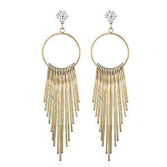 Lange oorbellen antiallergy fringe gouden zirkoon metalen oor studs voor tentoonstelling