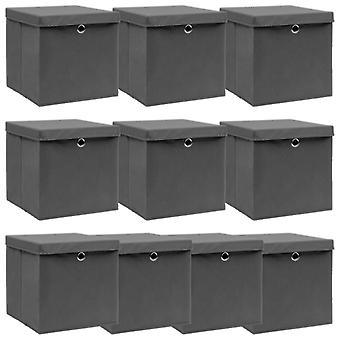 vidaXL ящики для хранения с крышкой 10 шт. серый 32×32×32 см ткань