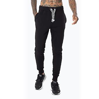 Hype Mens Black Drawstring Joggers Closed Hem Jersey Jogging Bottoms Sport Pants