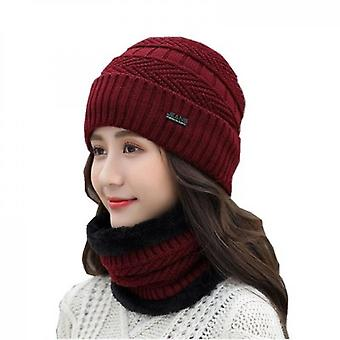 Dome Knitted Collar Wool Couple Hat Red + Black