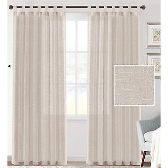 2X linen blended sheer curtains textured woven linen sheers curtain drapes for living room/bedroom light filtering tab top casual draperies -  linen