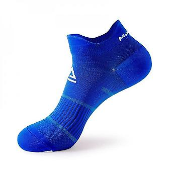Blue 3 pack men's cushioned low-cut anti blister running and cycling socks mz874