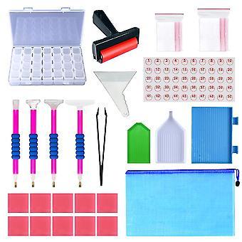 Hywell 77pcs 5d Diamond Painting Tools Kit Diy Embroidery Crafts Cross Stitch Accessories Storage Box