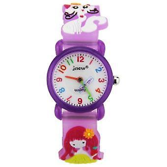 Vízálló gyermek kvarc Watch-3d Lány és Macska Minta-lila