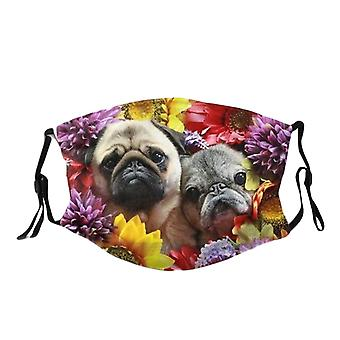 Söta hundar tryckt ansiktsmask tvättbar återanvändbar bomullsblandning Mask Streetwear Masker