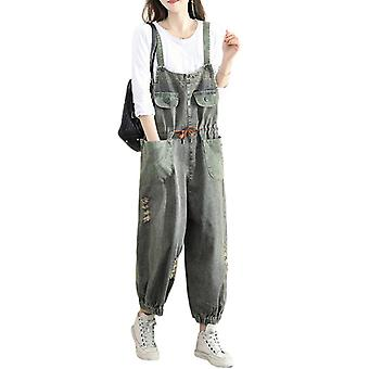 Loose Ripped Overalls Plus Size Printed Demin Pants