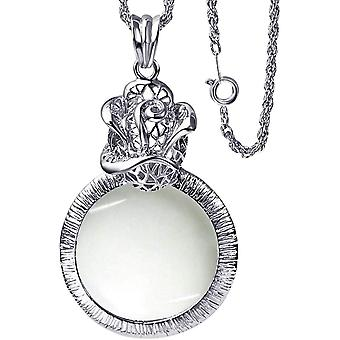 2x Magnifier Jewelry Loupe Vintage Rose Necklace Pendant Magnifier